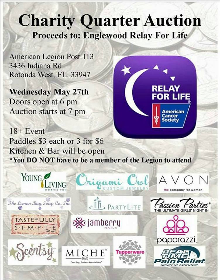 Relay for life of englewood quarter auction fundraiser for Relay for life flyer template