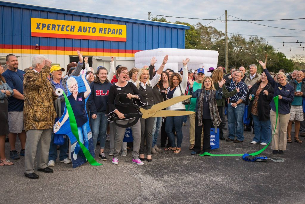 Crowd in front of Xpertech Auto Repair
