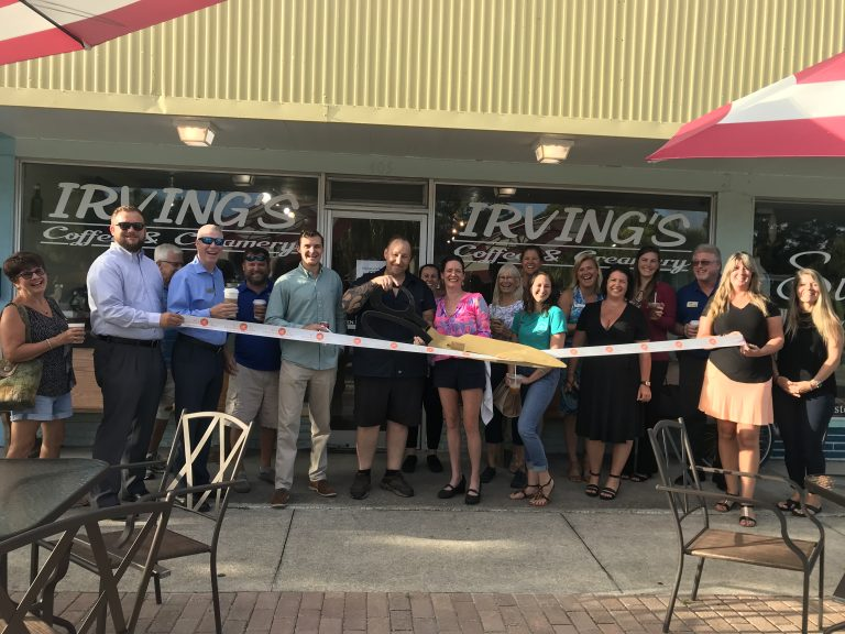 Ribbon cutting at Irving's Coffee
