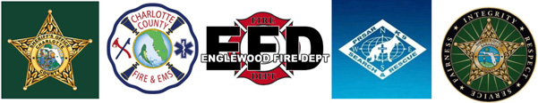 Logos of: Sheriff's Office Charlotte County, Charlotte County Fire & EMS, Englewood Fire Dept, PRSAR K9 Search & Rescue, Sheriff's Office Sarasota County
