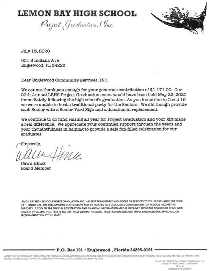 Letter from LBHS thanking Englewood Community Services