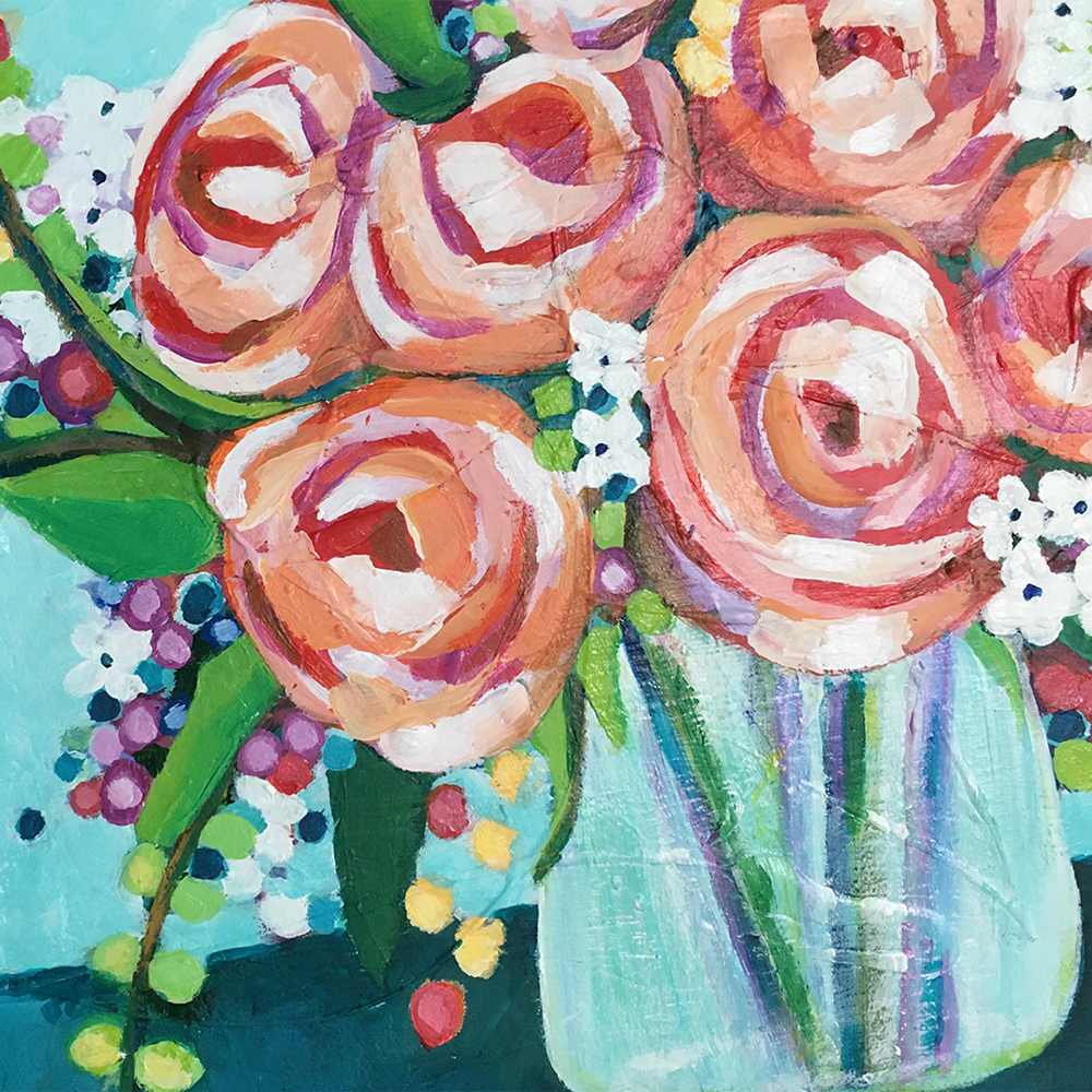 Adult Intro to Art: Expressive Floral Painting on Canvas