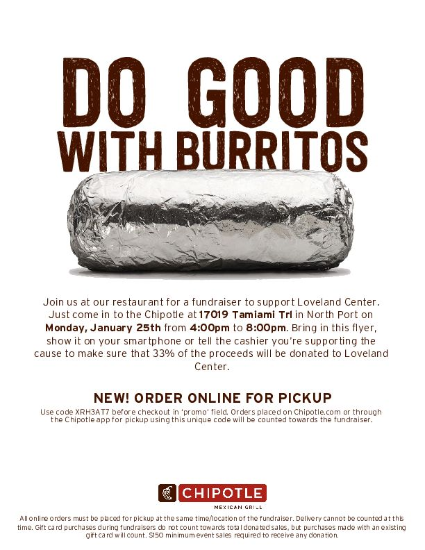 Loveland Center fundraiser at Chipotle North Port